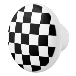 Black And White Checkered Checkerboard Pattern Ceramic Knob