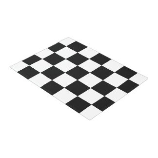 Black And White Checkered Checkerboard Pattern Doormat