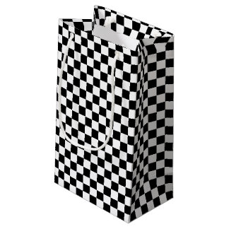 Black and White Checkered Design Small Gift Bag