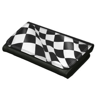 Black and White Checkered Flag Chequered Flag Leather Wallet For Women