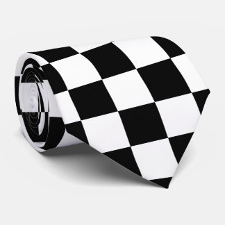 Black and White Checkered Flag Tie