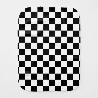 Black and white checkered pattern burp cloth