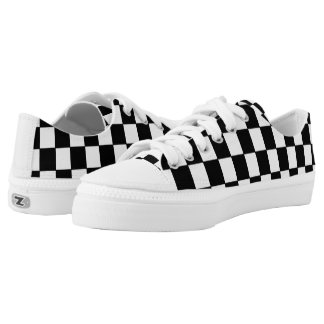 Black and White Checkered Pattern Low Tops
