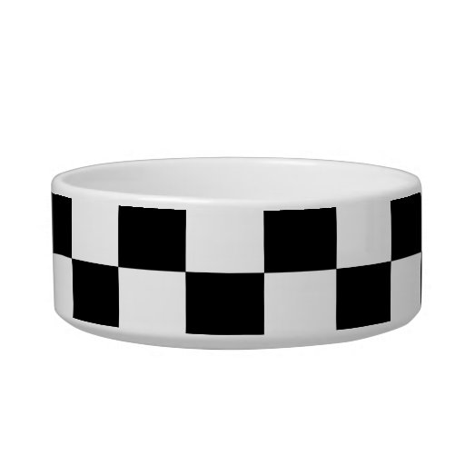 Black and white checkered pattern cat food bowl