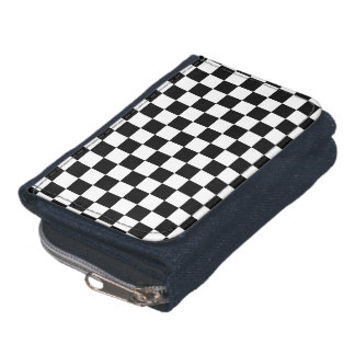 Black and white checkered pattern wallets