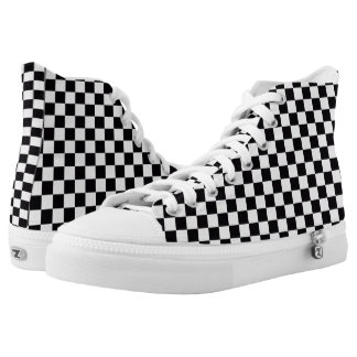 Black and white checkered printed shoes