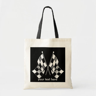 Black and White Checkered Racing Flags Tote Bag
