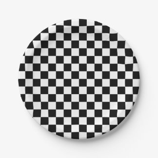 Black and White Checkered Squares 7 Inch Paper Plate