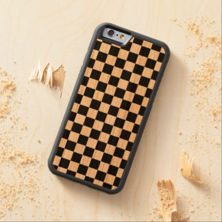 Black and White Checkered Squares Carved® Cherry iPhone 6 Bumper