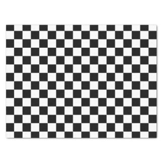 Black and White Checkered Squares Tissue Paper