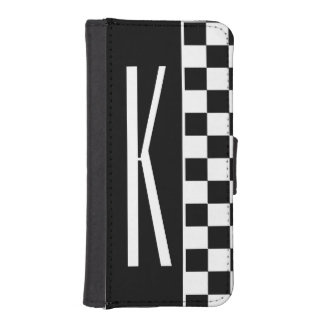 Black and White Checkered Squares Phone Wallet