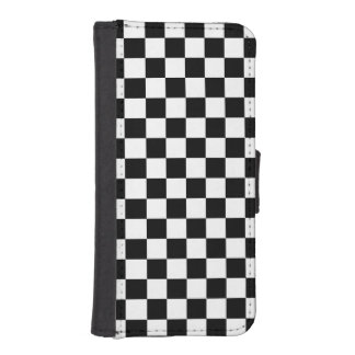 Black and White Checkered Squares Phone Wallets
