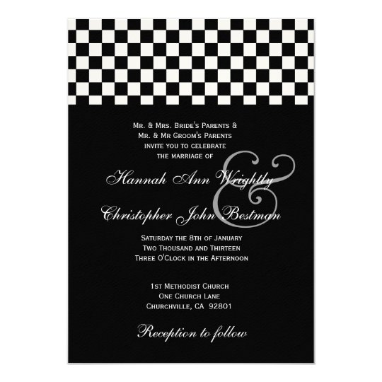 Black and White Checks Wedding Metallic 32 Card