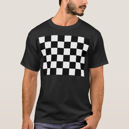 Black and White Chequerboard Retro Hipster T-Shirt