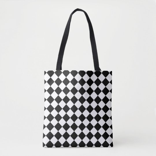 Black and White Chequerboard Tote Bag