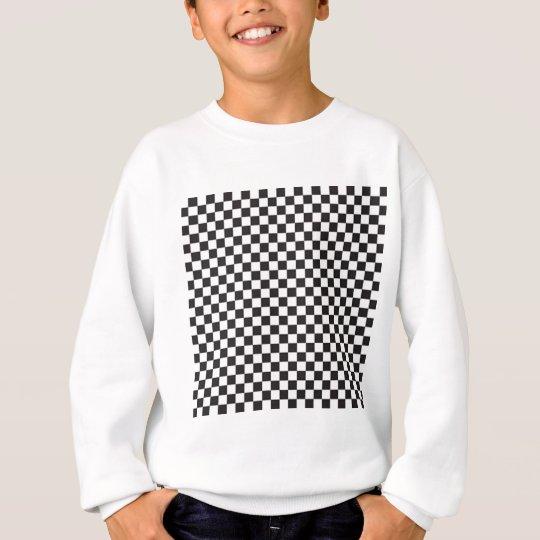 Black and White Chequered Board Checks Sweatshirt