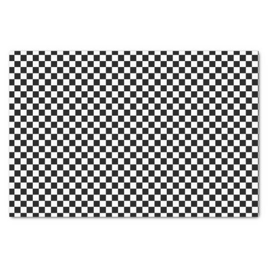 Black And White Chequered Board Pattern Tissue Paper