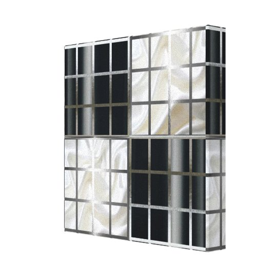 Black and White Chequered Board Silver Abstract Canvas