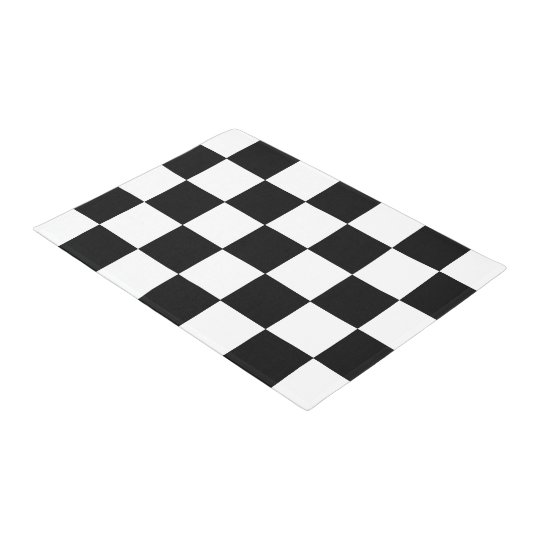 Black And White Chequered Chequerboard Pattern Doormat