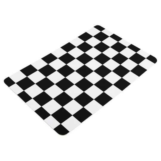 Black And White Chequered Chequerboard Pattern Floor Mat