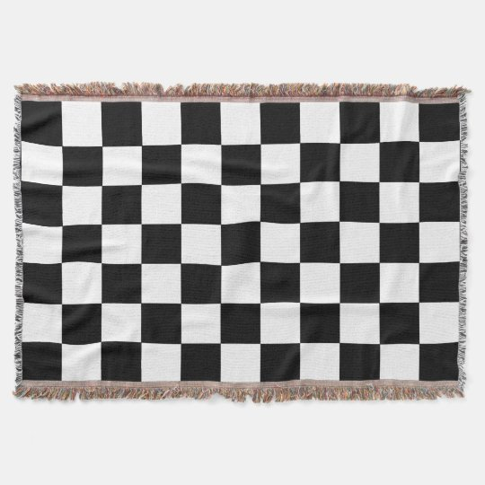 Black And White Chequered Chequerboard Pattern Throw Blanket