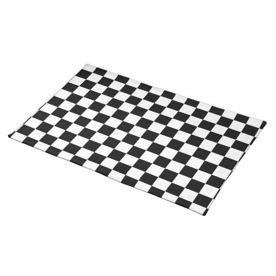 Black and White Chequered Cotton Placemat