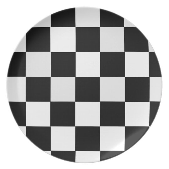 Black and White Chequered Dinner Plates