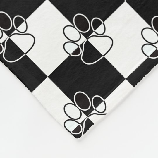 Black and White Chequered Dog Paw Fleece Blanket