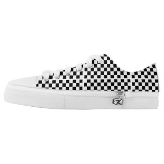 Black and White Chequered Pattern Printed Shoes