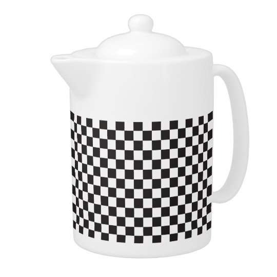 Black And White Chequered Pattern Teapot
