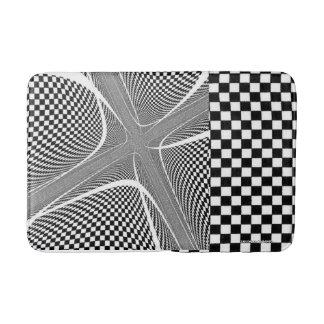black and White Chequered Swirl Bathmat