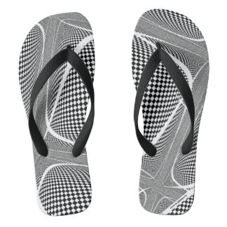 Black and White Chequered Swirl Flip Flops