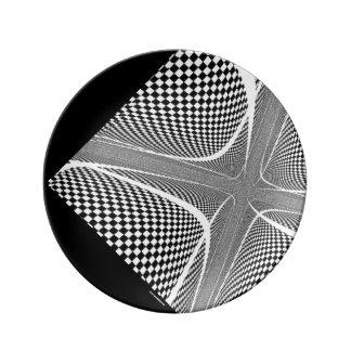 Black and White Chequered Swirl Plate