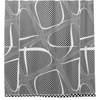 Black and White Chequered Swirl Shower Curtain
