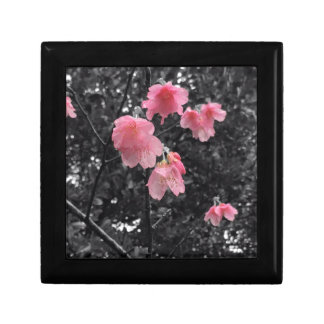 Black and White cherry blossoms Small Square Gift Box