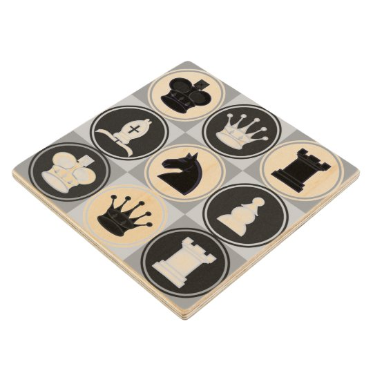 Black and White Chess Pieces Pattern Wood Coaster