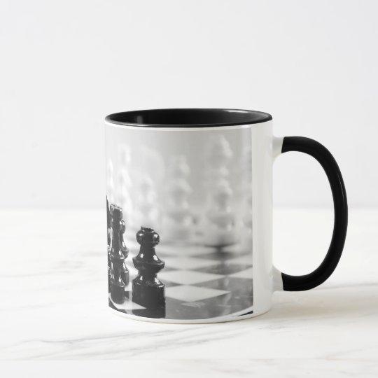 Black and white chessboard coffee mug