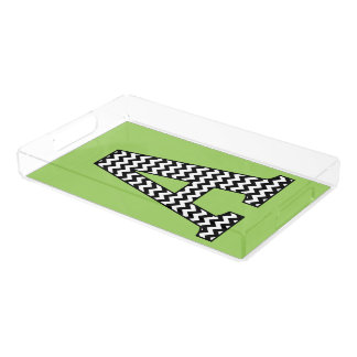"""Black and White Chevron """"A"""" Serving Tray"""