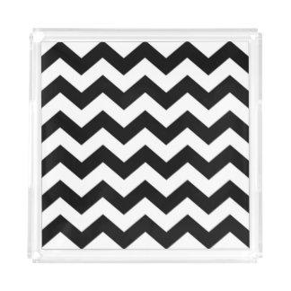 Black and White Chevron Acrylic Tray