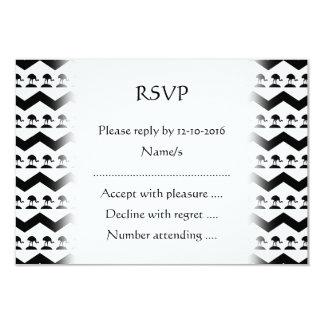 Black and White Chevron and Birds Pattern 9 Cm X 13 Cm Invitation Card