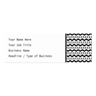 Black and White Chevron and Birds Pattern Pack Of Skinny Business Cards