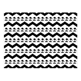 Black and White Chevron and Birds Pattern Postcard