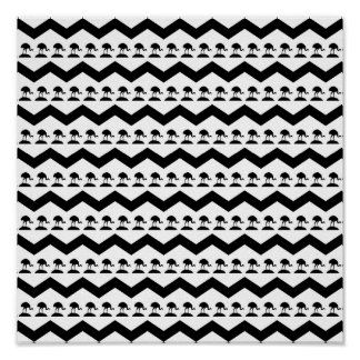Black and White Chevron and Birds Pattern Poster