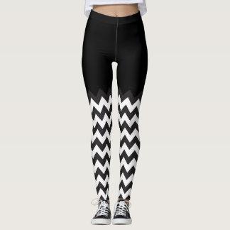 black and white Chevron Blocking pattern Leggings