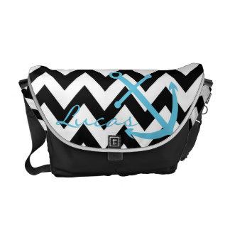 Black and White Chevron Blue Anchor Diaper Bag Commuter Bags