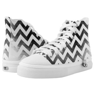 Black and white Chevron canvas sneakers high top