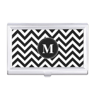 Black and white chevron custom monogram business card holder
