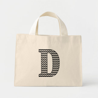 "Black and White Chevron ""D"" Monogram Tote Bag."