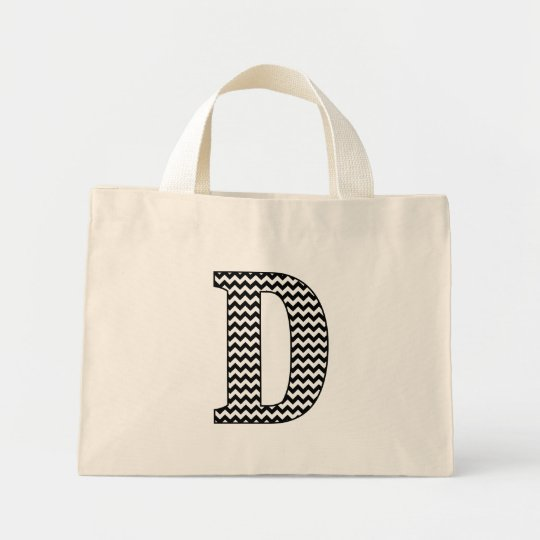 "Black and White Chevron ""D"" Monogram Tote Bag."