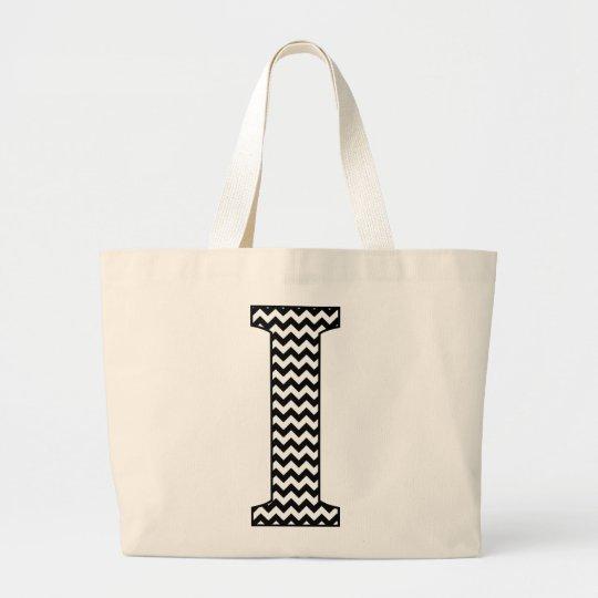 """Black and White Chevron """"I"""" Monogram Tote Bag."""